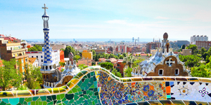 BARCELONA, SPAIN - JULY 25: The famous Park Guell on July 25, 20