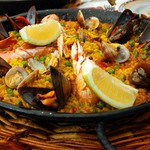 Spanish paella in the pan