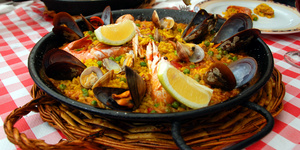Spanish paella in the pan