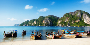 Boats on Phi Phi island Thailand