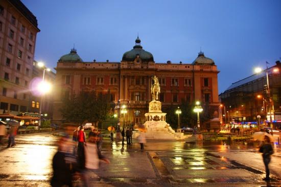 Площадь Республики в Белграде вечером