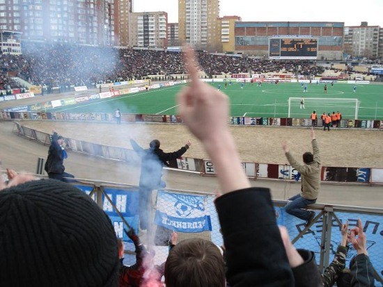 Стадион Звезда во время футбольного матча