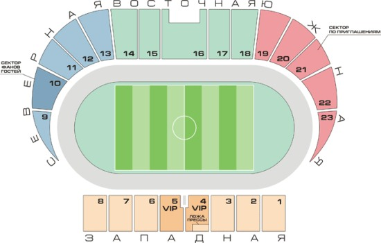 Схема стадиона Звезда в Перми